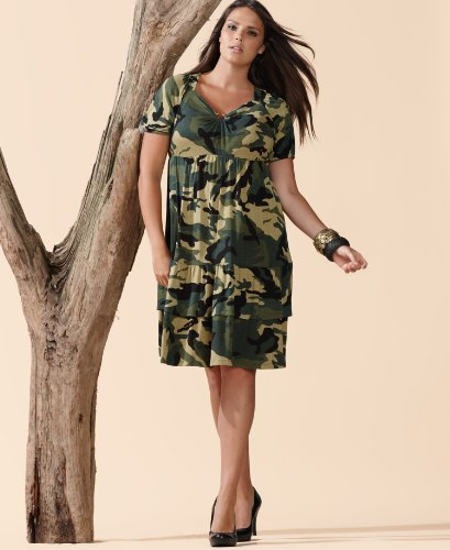 Short Sleeve Camo-Green Camouflage Dress
