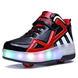 Uforme Kids Boys Girls High-Top Shoes LED Light Up Sneakers Single Wheel Double Wheel Roller Skate Shoes (4 M US=CN36, Black/Red-Double Wheel) …