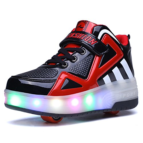Uforme Kids Boys Girls High-Top Shoes LED Light Up Sneakers Single Wheel Double Wheel Roller Skate Shoes (1.5 M US =CN33, Black/Red-Double Wheel) (Cool Skate Shoes compare prices)
