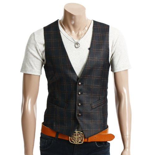 DOUBLJU Mens Casual 4button Slim Checks Vest NAVY M (094D)