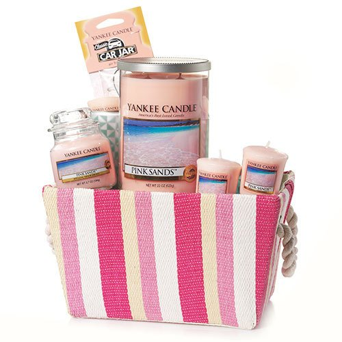 Yankee Candle Pink Sands Striped Basket Gift Set, Fresh Scent (Candle Basket compare prices)