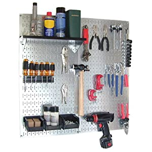 Click to read our review of Garage Pegboard: Wall Control 30-WGL-200GVB Galvanized Steel Pegboard Tool Organizer