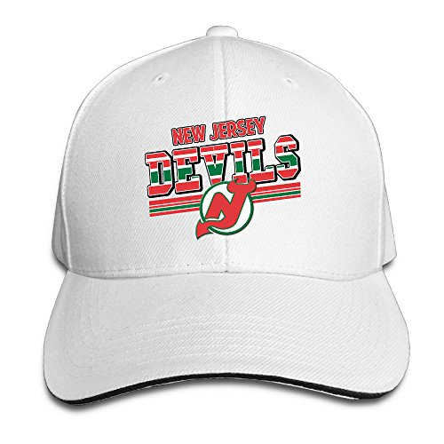 Hotboy19 Adult New Jersey Hockey Logo Reversed Baseball Hat White (New Jersey Devils Hard Hat compare prices)
