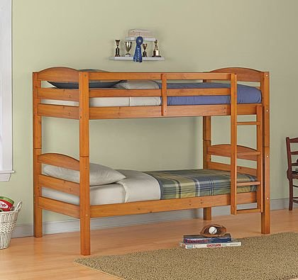 Twin over Twin Wood Bunk Bed, Pine Finish (Can Convert compare prices)