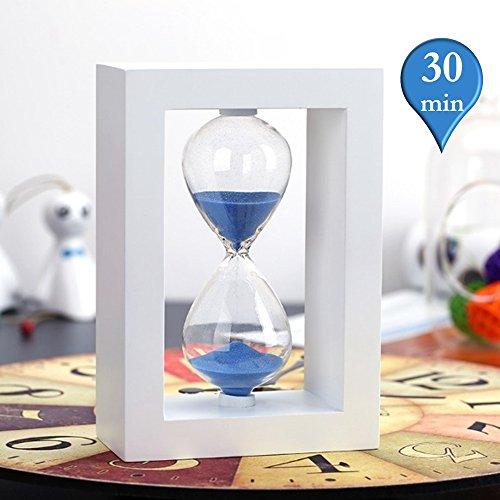 Clessidra, merrynine 30minuti clessidra in Bianco wood-finished supporto per cucina, in ufficio, a scuola e uso decorativo (14,5x 9,9x 4,8cm Blu) Timer-30min-Blue