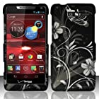 For Motorola Droid RAZR M 4G LTE XT907 (Verizon) Rubberized Design Cover - White Flowers