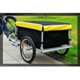 Aosom Elite Bike Cargo / Luggage Trailer w/ Removable Cover - Black / Yellow