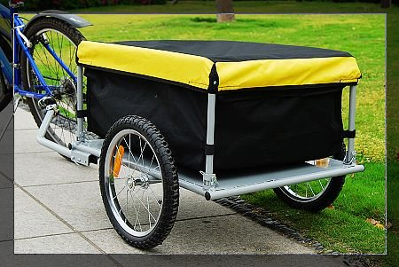 Aosom Bicycle Bike Cargo Trailer-yellow and Black