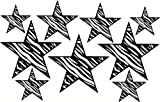 Black Zebra Print Star Wall Sticker Vinyl Decal 9 Pc