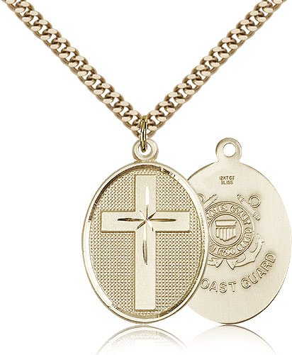 Genuine IceCarats Designer Jewelry Gift Gold Filled Cross / Coast Guard Pendant 1 1/8 X 3/4 Inch With 24 Inch Stainless Gold Heavy Curb Chain. Made In Usa.