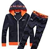 (リザウンド) ReSOUND メンズ スウェット パーカー セットアップ 上下 セット ジャージ スポーツウェア 部屋着 ルームウェア ジャケット カジュアル スタイル トレーニング ジム ダンス スエット ネイビー XL :#104
