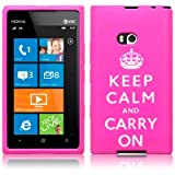 Nokia Lumia 900 Keep Calm and Carry On Lasered Silicone Skin Case / Cover / Shell - Hot Pink/White