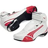 Puma Testastretta II Mid Vented Men's Street Motorcycle Boots - White/High Risk Red / Size 38