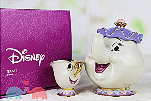 NEW Beauty and The Beast Mrs. Potts Chip Tea Pot Cartoon Teapot Mug Cup Set Gift