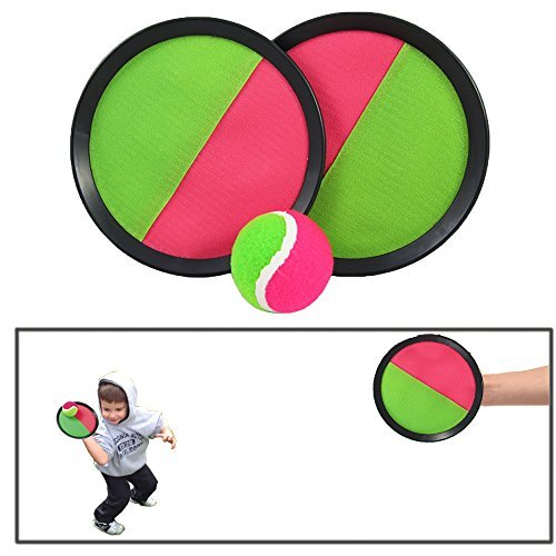 "Toy CubbyVelcro ball Paddle Catch and Toss Game Set- 7"" Handheld Stick Disc - 1 Set"