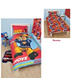 Fireman Sam Alarm Reversible Single Duvet Cover Panel And Pillowcase Set