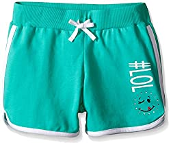 Dream Star Big Girls' French Terry Dolphin Short with Screen and Contrast Piping, Bayleaf/White, Large/14