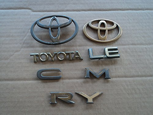 92-95 Toyota Camry Le Gold Painted Chrome Front Grill Liftgate Trunk Individual Emblem Logo Set of 5 (Toyota Camry Emblem Front Grill compare prices)