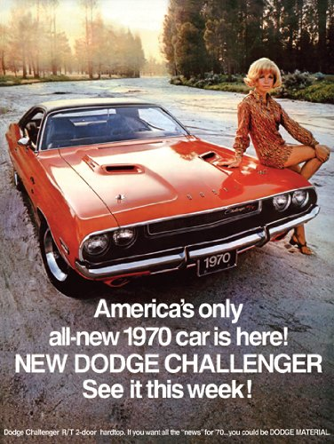 1970 Dodge Challenger Ad Digitized & Re-mastered Car Poster Print