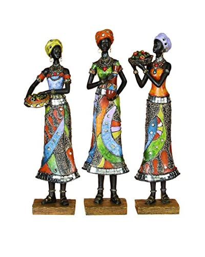 Set Of 3 African Décor Figurines, Multi