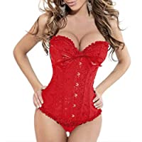 IDEAL Sexy Brocade Stain Overbust Corset With Floral Pleated Trim Bustier Burlesque Basque Fancy Dress Costume Outfit With G-string