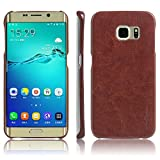 #7: First 4 Cover For Samsung Galaxy S7 Edge Leather Back Cover (Brown)