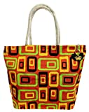 Neska Moda Swachh Bharat Women's Geometric Mobile Design Orange Jute Bag Shoulder Bag-B112