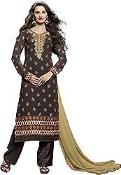 Shree Sai Exports Women's Georgette Unstitched Dress Material (Chestnut)