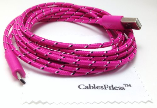 Cablesfrless 6Ft Braided Durable High Quality Micro B Usb Charging / Data Sync Cable Fits Android Devices (Hot Pink)