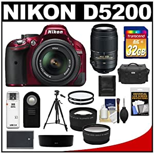 Nikon D5200 Digital SLR Camera & 18-55mm G VR DX AF-S Zoom Lens (Red) with 55-300mm VR Lens + 32GB Card + Battery + Case + Filters + Telephoto & Wide-Angle Lenses + Tripod + Accessory Kit