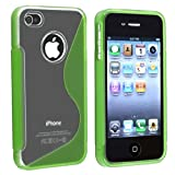 TPU Rubber Skin Case compatible with Apple iPhone 4 / 4S , Clear / Frost Green S Shape