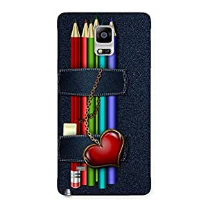 Cute Denim Pencil Print Back Case Cover for Galaxy Note 4