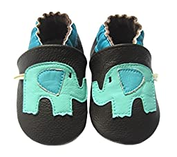 MOKRIL® Toddlers Baby Girls Boys Soft Sole Genuine Leather Slippers, in Various Sizes and Patterns(18-24m, Elephant)