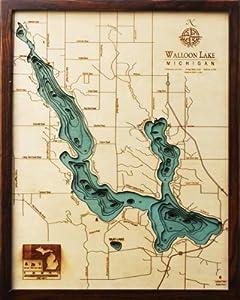 Walloon Lake Topographic Map by Woodchart