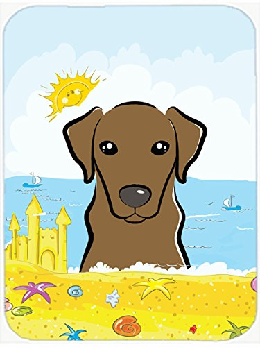 Chocolate Labrador Summer Beach Glass Cutting Board Large BB2102LCB