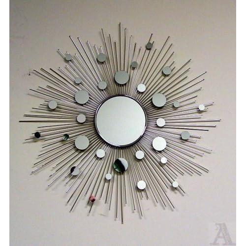 Amazon.com - Silver Sunburst Retro Sun Circle Glass Wall Mirror Art