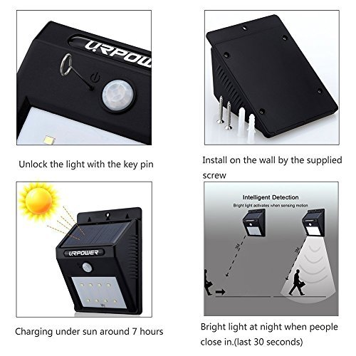 URPOWER Solar Lights 8 LED Wireless Waterproof Motion Sensor Outdoor Lightfor Patio, Deck, Yard, Garden with Motion Activated Auto On/Off (4-Pack)