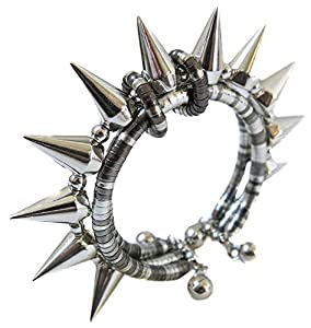 Bracelet femme acier argent rivet clou cloute snake serpent rock punk alternatif