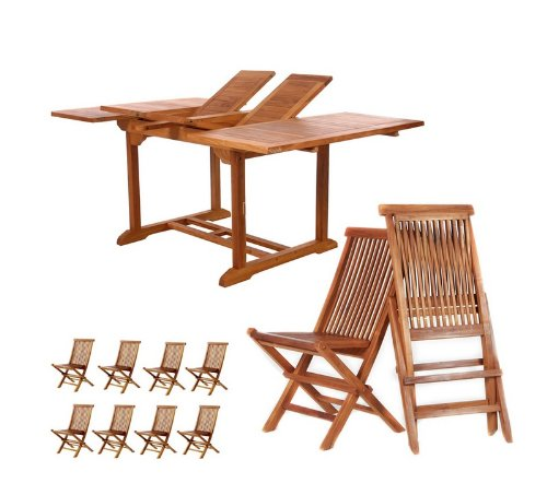 9pcs Java Teak Outdoor Patio Dining Table and Chairs Set