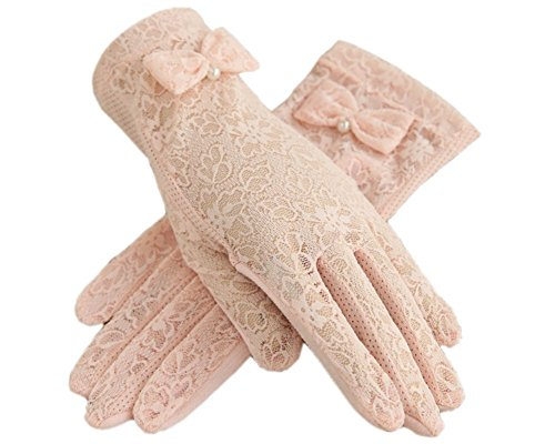 Urban CoCo Vintage Summer Lace Bowknot Short Dress Gloves Wedding Gloves (Pink)