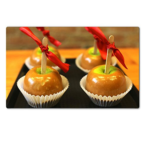 Luxlady Large Table Mats Caramel Apple Candy Store Food Natural Rubber Material Image 445976