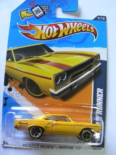 hot-wheels-muscle-mania-mopar-12-9-10-70-roadrunner-89-247-yellow-on-scan-and-track-card-by-hot-whee