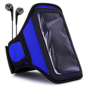 VanGoddy Armband Navy Blue Neoprene Sweat-proof w/ Key & ID Card Pouch fits Samsung : Galaxy ( J5 , A8 , S5 Neo , ON5 , ON7 , A7 , A5 ), Z3 Smartphones + Black Earbuds with Mic