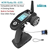 Flysky FS-GT5 6CH RC Transmitter with FS BS6 Receiver , 2.4Ghz AFHDS 2A Protocol Transmitter and Receiver for RC Car Boat ect ( Failsafe Function + 200m Range + Great Ergonomic + 4 Climbing Mode ) (Color: Fs-gt5, Tamaño: small)
