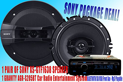 "Sony Packpage Deal! 1 Pair Sony 6.5"" Xs-Gtf1638 Car Speaker + 300W Gravity Agr-S205Bt Car Stereo Receiver - Built-In Bluetooth/Sd/Usb/Front Aux - Mp3 Playable"