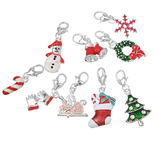 Souarts Random Mixed Christmas Snowman Tree Clip on Charm Pendants for Necklace Making Pack of 20pcs (Charm Packs Christmas compare prices)