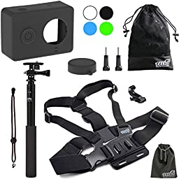 EEEKit 3 in 1 Starter Kit for Xiaomi Yi Sports Cam Action Camera,Silicone Case,Chest Mount Harness,Extension Selfie Pole Mount and Accessory Pouch