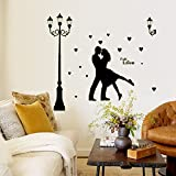 Oderin Art Noctilucent Decal Romantic Lovers Under Lamp Mural Removable Wall Stickers Art for Living Room Decoration