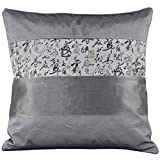 Layered Silky Decorative Embroidered Oriental Cushion Cover / Pillow Case - Silver Grey