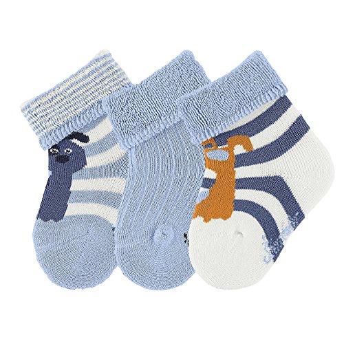 Sterntaler Baby-Jungen Socken Söckchen 3er-Pack Hund, Beige (Ecru 903), 18